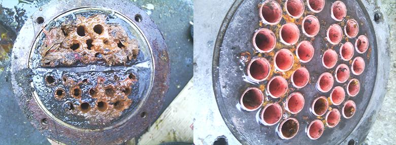 冷凝器水垢清洗前后
